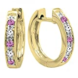 10K Yellow Gold Round Pink Sapphire & White Diamond Ladies Huggie Hoop Earrings