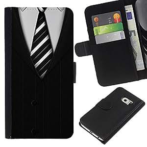 Planetar® Modelo colorido cuero carpeta tirón caso cubierta piel Holster Funda protección Para Samsung Galaxy S6 EDGE / SM-G925(NOT FOR S6!!!) / SM-G925(NOT FOR S6!!!) ( Cravatta White Collar Man Stripes)