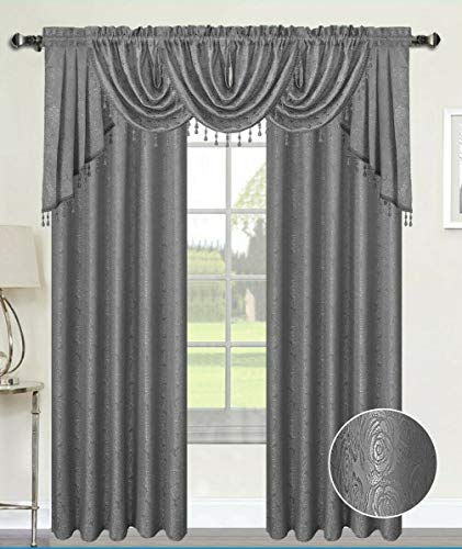 Luxury Home Textiles Angelina Damask 7 Piece Curtain, Beaded Austrian VALANCES and Swag Set, Silver Grey