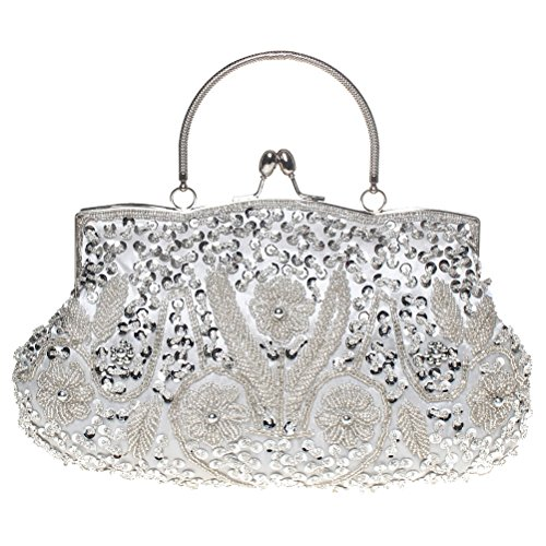 BaoLan Evening Clutch, Womens Vintage Sequined Kissing Lock Clutch Purses For Wedding & Party Silver - Clutch Purse Silver