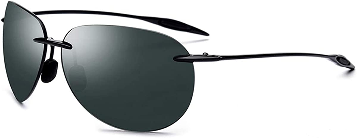 RTGreat Ultem TR90 Rimless Sunglasses Des lunettes de soleil Men Ultralight NEW Male Aviador Mirrored Aviation Sun Glasses For Women Nylon Lens Dark Green
