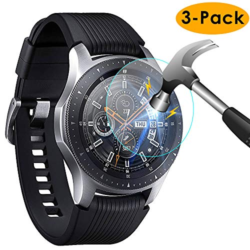 KIMILAR [3-Pack] Compatible Samsung Galaxy Watch Screen Protector 46mm, Waterproof Tempered Glass Screen Protector Cover Compatible Samsung Galaxy Smartwatch Silver, [Crystal Clear] [Scratch Resist]