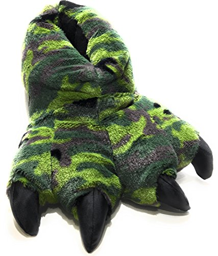 Wild Ones Furry Animal Claw Slippers for Toddlers, Kids and Adults (Small Toddlers and Little Kids Sizes 3 ½ to 11 ½, Green Camo)