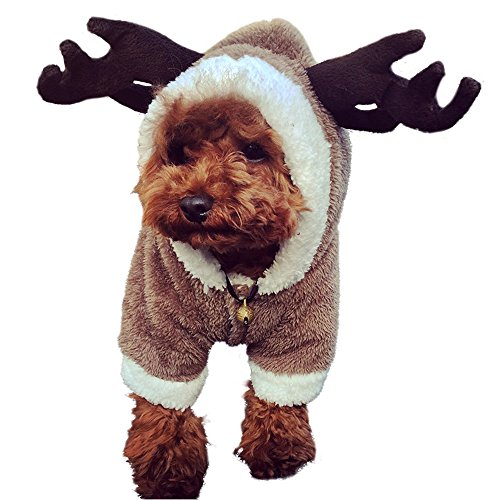 LUCKSTAR Dog Clothes - Pet Clothes Elk Costume Christmas Elk Moose Cool Cute Pet Cosplay Soft Warm Coral Fleece Pet Hoodie Coat Winter Clothing Jumpsuit for Christmas Party Gifts Pet Supplies (M) (Cute Dog Costumes Sale)
