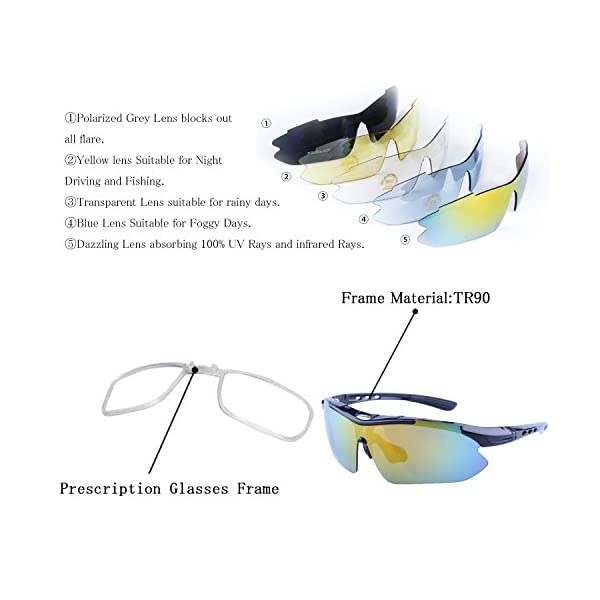 1a30b55be5 Polarized Sports Sunglasses for Men Women Cycling Running Driving Fishing  Golf Baseball with Tr90 Unbreakable Frame