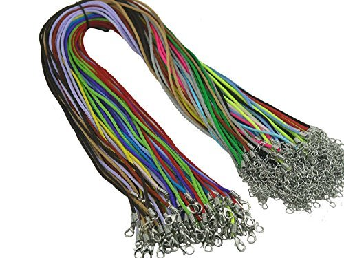 - 50pcs Mixed Colors Satin Silk Necklace Cord 2.0mm/24'' with Extension Chain Lead&nickel Free