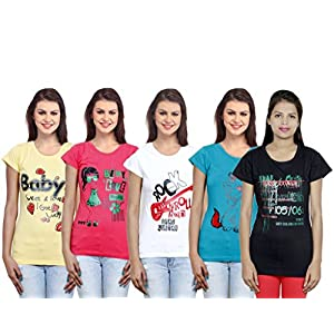 Indistar Girls Cotton T-Shirt(Pack of 5 T-Shirt) Combo Offer
