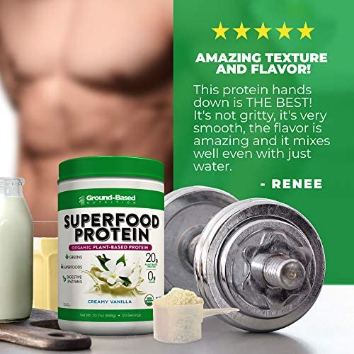 Superfood Protein, Plant-Based Protein Powder – Superfood + Greens for Immune Support – Lean, Organic, Vegan, Keto, Paleo, Lactose-Free, No Sugar, Low Calorie Protein Powder, Non-GMO, Gluten Free (20 Servings, Creamy Vanilla) 2
