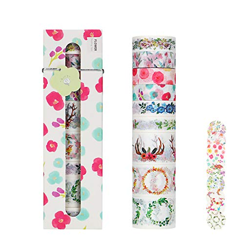 Molshine Set of 9 (0.6in x 5.5yd x 6rolls,1.2in x 5.5yd x 3 Rolls) Washi Masking Tape + 10pcs Stickers, Sticky Paper Tape for DIY, Decorative Craft, Gift Wrapping,Scrapbook-Flower and Wind Series