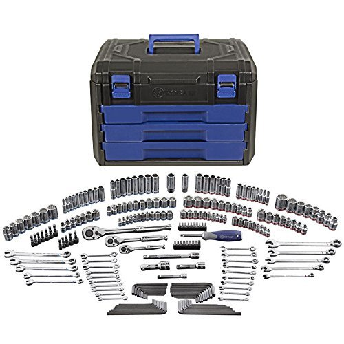 KOBALT 227pc MECHANIC SOCKET RATCHET COMBO WRENCH TOOL SET 1/4 3/8 1/2 DR MM - Snap Ratchet Wrenches On
