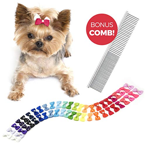 The Thoughtful Brand 50 Dog Hair Bows in Assorted Pairs | Best Value & Quality for Groomers with Innovative Design & Strong Rubber Band to Guarantee Durability & Savings, Bonus Grooming Comb Included