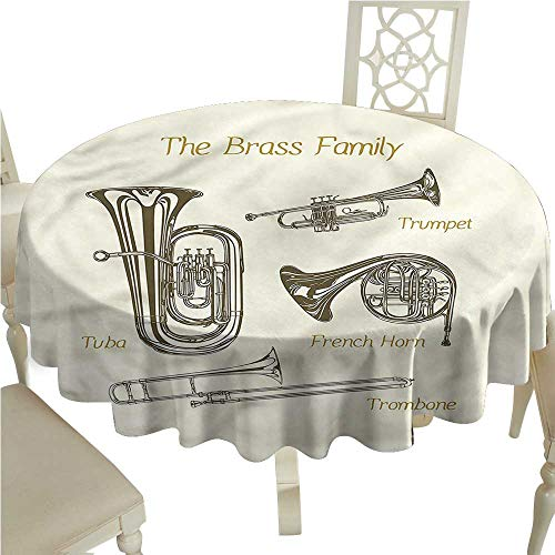 crabee Waterproof tablecloths Music,Tuba Trumpet Trombone Brass,Tablecloth for Wedding