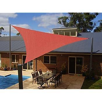 Artouch Brick Red 16u0027x16u0027x16u0027 Triangle Sun Shade Sails UV Block Shelter Canopy  Patio Garden Outdoor Facility Activities