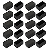 uxcell 20pcs Furniture Desk Chair Protector 20mmx40mm Square Rubber Leg Tip Cap Black