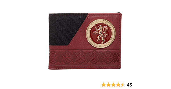 GAME OF THRONES HOUSE LANNISTER CREST METAL LOGO FAUX LEATHER BIFOLD MENS WALLET