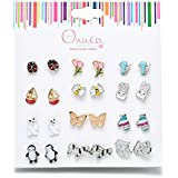 Onnea Multi Packs Animals Flowers Theme Earrings Set for Girls, Hypoallergenic