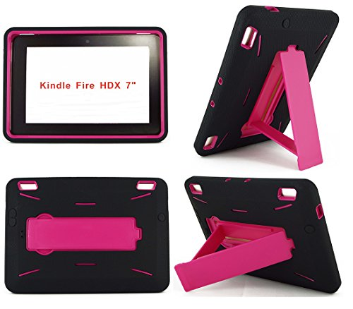Amazon Kindle Fire HDX 7 inch Case (2013 Version) [NOT for Kindle Fire HD 7] Heavy Duty Hard Hybrid Protective Air Cushion Horizontal & Vertical View Kickstand Tablet Case Cover (Black/Hot Pink) (Kindle Fire Hdx 7 Cases For Kids)