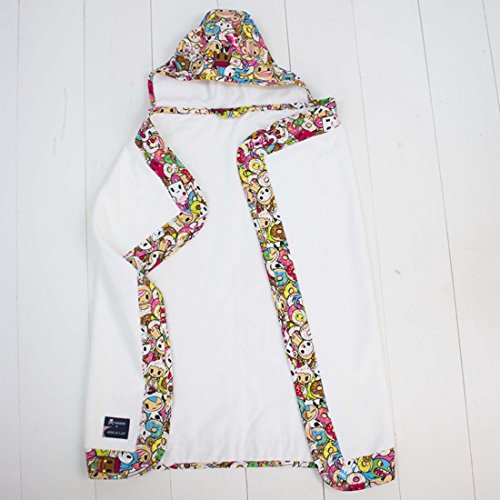 Bebe Au Lait Extra Soft 100% Cotton Trimmed Baby Hooded Terrycloth Towel, Tokidoki Tokipops