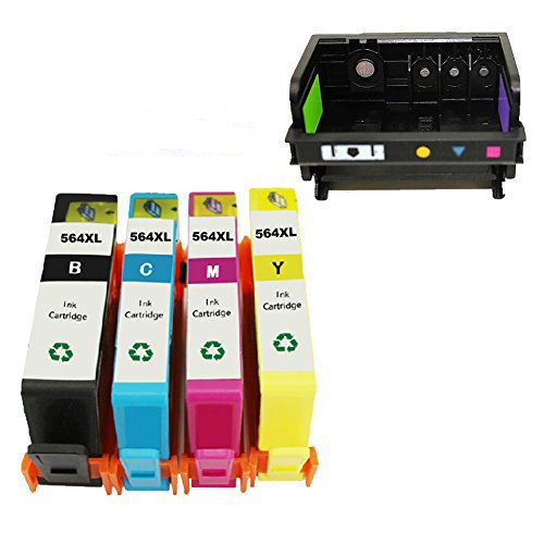 INKMATE 1 PACK 4 Slot Printer Head for 564 564 Printhead B110a B210a B109a C410a and 4 PACK (BK C M Y) 564XL High Yield Ink Cartridge