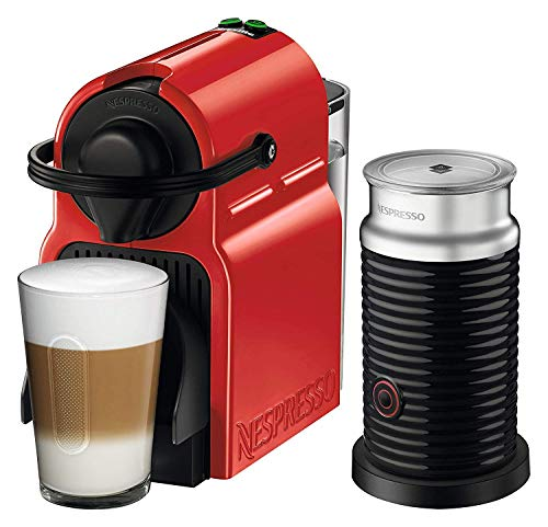 Nespresso Inissia Original Espresso Machine with Aeroccino Milk Frother Bundle by Breville, Red (Renewed)