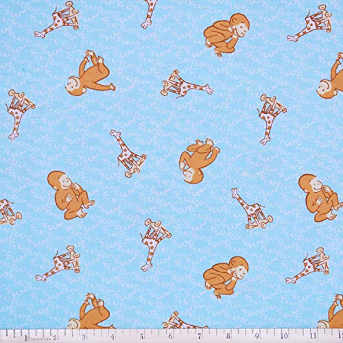 Curious George Fabric Toyland Flannel in Blue from Springs Creative Fabric by The ()