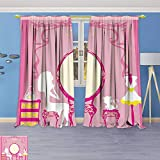 Philiphome Blackout Curtains Thickening Polyester,Lady Sitting in Front of French Cosmetic Make Up Mirror Furniture Dressy Design Thermal Insulated Grommet for Living Room