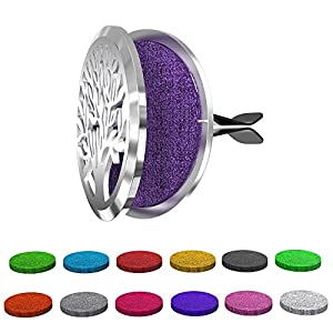 Aroma Outfitters Car Diffuser Vent Clip with 12 Colored Felt Pads. Improve Air Quality, Motion Sickness & Promote Calm Driving. Tree of Life Stainless Steel Fragrance Magnetic Locket