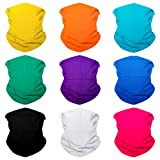 Sojourner 9PCS Seamless Bandanas Face Mask Headband Scarf Headwrap Neckwarmer & More - 12-in-1 Multifunctional for Music Festivals, Raves, Riding, Outdoors (Solid 2)