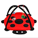 Sundlight Interactive Cat Activity Play Mat,Foldable Multifunction Pet Kitten Padded Bed with Hanging Toys Balls and Mice