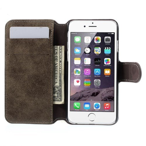 "Apple iPhone 6 4.7"" Wallet Case Retro Style Antik Frosted Book Etui Hülle Grau"