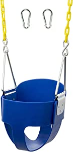 Squirrel Products High Back Full Bucket Toddler Swing Seat with Plastic Coated Chains and Carabiners for Easy Install - Blue