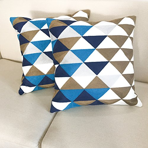 SLOW COW Home Decorative Embroidered Throw Pillow Cover Multi Triangular Cushion Covers for Living Room 18 x 18 Inch.