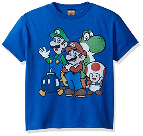 Nintendo Little Boys Super Bros Graphic T-shirt, Royal, Youth Small