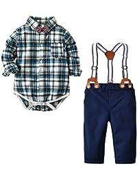 Newborn Baby Boy Clothes Gentleman Tuxedo Outfits Set Bodysuit Suspender Pants Bow Tie