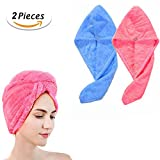 JT JUSTIME Soft Hair Dry Towel Cap Twist Hair Turban Wrap,Fast Drying Absorbent Microfiber for Women Bath Shower, Spa, Hot Tub and Makeup ( Rose+Blue, 2 Pack) (hair dry towel)