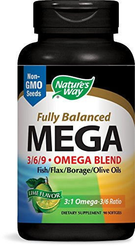 Nature's Way Mega 3/6/9. Omega Blend, Lime Flavor 1350mg, 90 (3.6.9 Oil Blend)