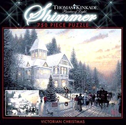 Caeco Thomas Kinkade 750 Piece Shimmer Puzzle - Victorian Christmas