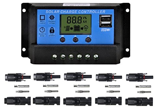 Sunway Solar Panel Charger Controller Regulator 20A 12V/24V with USB Port, Packed With 5pairs MC4 Connectors Female/Male For Solar Power Battery Charger System Kit by Sunway Solar