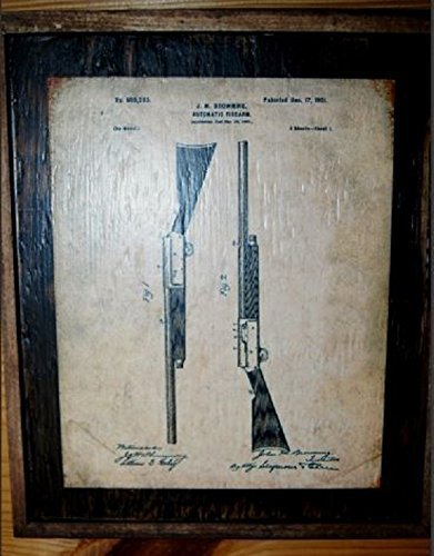 Framed Vintage Browning 1901 Shotgun original patent drawing sign by Wooden Crow Company