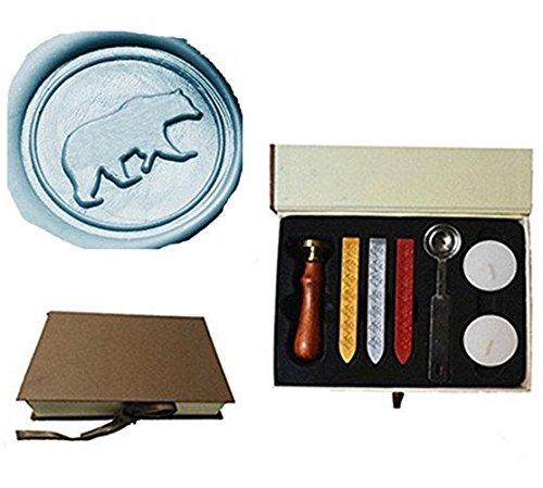 Vintage Ours personnalis/ée Photo Logo invitations de mariage cachet de cire d/étanch/éit/é Ensemble de tampons kit Box Kit Gold//Red//Silver