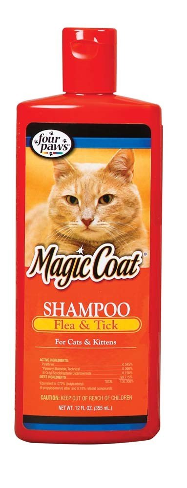 Four Paws Magic Coat Flea & Tick Shampoo Cat Kit 12oz Gentle On Kitten's Skin