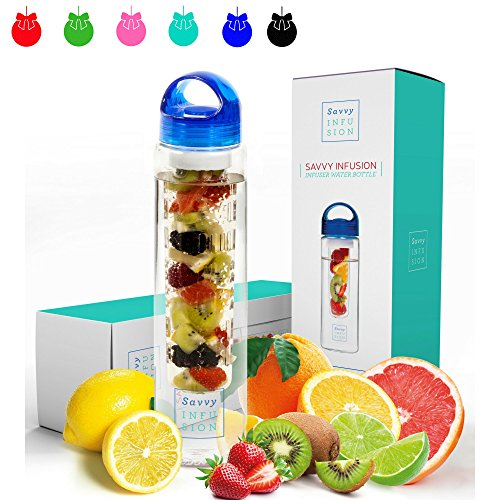 Savvy Infusion Water Bottles - 32 Ounce - Featuring Unique Leak-Proof Sealed Cap with Handle - Includes Bonus Recipe Ebook (Ideas For Christmas Girlfriend Gift)