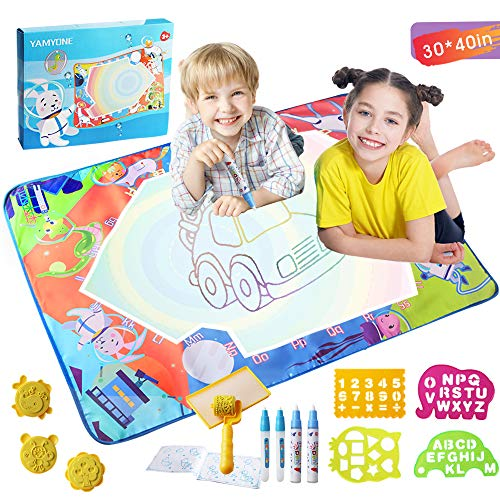 (Large Aqua Drawing Mat for Kids -Space Drawing Mat Aqua Magic Doodle Mat Drawing Pad 40'x30' Painting Writing Doodle Board Toy Clawing Mat Educational Gifts for Toddlers Boys Girls Age 2 3 4 5 6+)