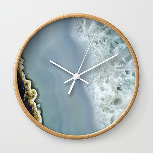 Society6 Blue Agate II Wall Clock Natural Frame, White Hands (Agate Clock)
