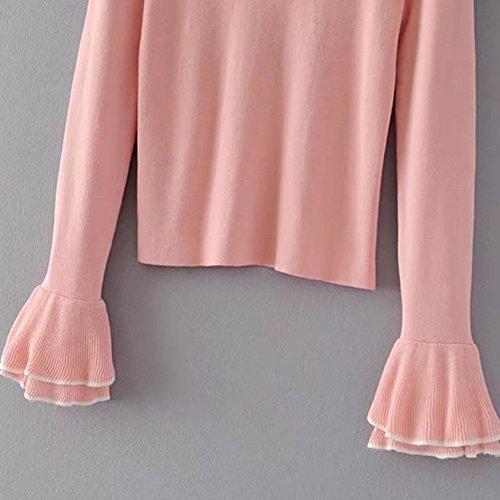 Jersey Basico Mujer Redondo Cuello Sueter Flojo Abrigo Pullover Corto Blouses Pink