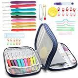 Abonnyc Ergonomic Crochet Hooks Set, Knitting Needle Kit, Zipper Organizer Case With 9pcs 2mm to 6mm Soft Grip Crochets and Complete Accessories, Small Volume and Convenient to Carry (Dark Blue)