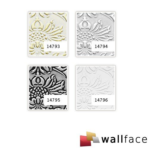 Panel decorativo autoadhesivo polipiel diseño barroco WallFace 14794 IMPERIAL Damasco relieve 3D blanco plata 2,60 m2: Amazon.es: Bricolaje y herramientas