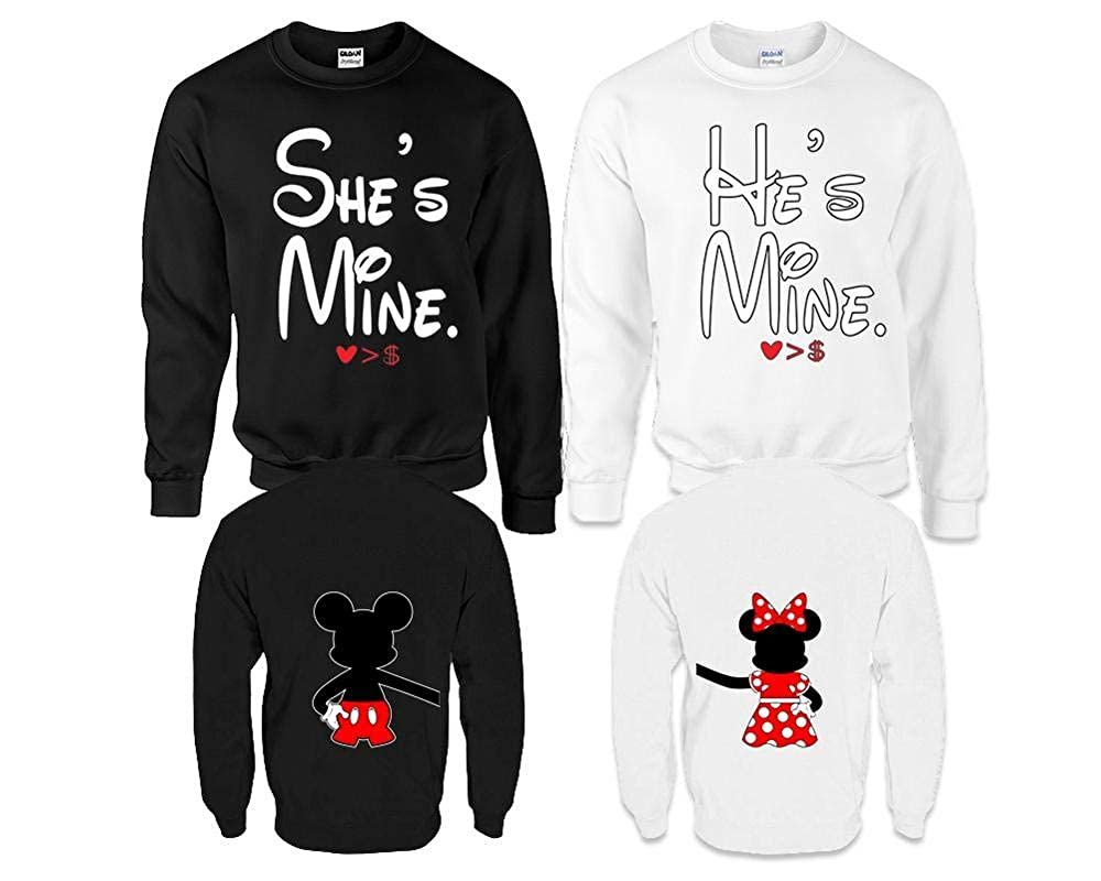 Amazon.com: Hes Mine Shes Mine Couple Sweaters, Disney Mickey and Minnie Matching Sweaters: Clothing