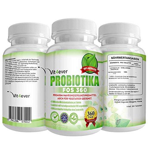 Probiotika FOS 360 - 10 Milliarden Milchsäurebakterien pro Tablette - Hochdosiert - 360 Tabletten - Zusätzlich mit Fructooligosaccharide - Lactobacillus Acidophilus - 360 Tage Versorgung - Unterstützung der Verdauung & Darmflora - Auch für Vegetarier geeignet