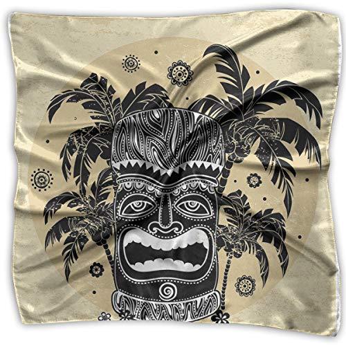 Bandana Head and Neck Tie Neckerchief,Hawaii Tiki Mask Figure Palm Trees Ornate Flowers Sunny Summer Party Print,Headband